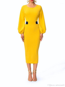 Elegant Sweet Color Vintage Dresses Fashion Crew Neck Ladies Panelled Column Dresses Designer Lantern Sleeve Dresses Women