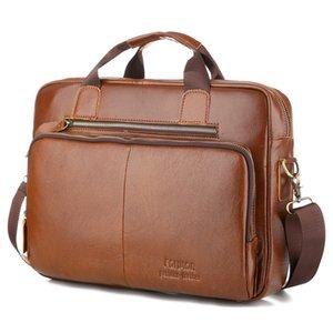 새로운 암소 진짜 가죽 비즈니스 남자의 서류 가방 남성 Hangbags 어깨 가방 남자 메신저 가방 빈티지 토트 컴퓨터