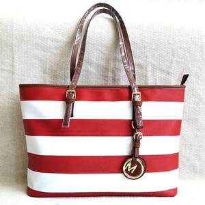 2020 kırmızı ve beyaz çizgili moda tasarımcısı bayan çanta çanta omuz deri debriyaj omuz çantaları kadın çanta cüzdan ile
