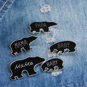Moda esmalte Mama Cub Bear Broche do botão pinos Família Amor Animal dos desenhos animados Papa broches ter bebê urso Denim Jacket emblema do Pin Jóias