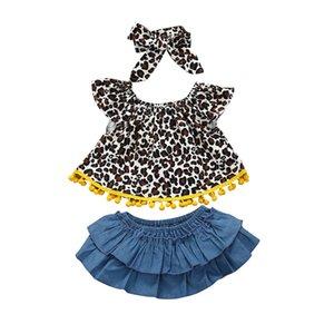 3pcs Fashion Leopard Print Clothes For Newborn Infant Baby Girl Tassel Ruffle Leopard T Shirt Tops Denimd Shorts Summer Outfits