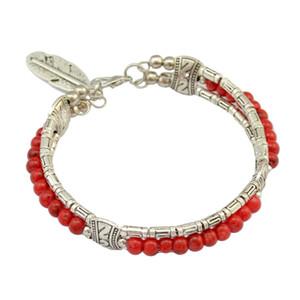 stile bohemien d'epoca fiore intagliato turchese del polsino foglie colorate perline braccialetto ciondolo