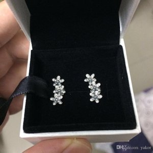 NOVA 925 Sterling Silver CZ Diamante flores Do Parafuso Prisioneiro BRINCO Caixa Original Conjunto para Pandora 925 Neve Brincos Mulheres Meninas Presente Jóias