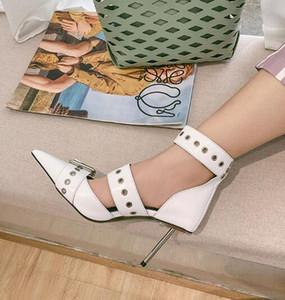 Métal sexy pompes à talons hauts femmes style punk grosse boucle décor femmes pompes 2019 cuir véritable bout pointu chaussures de gladiateur