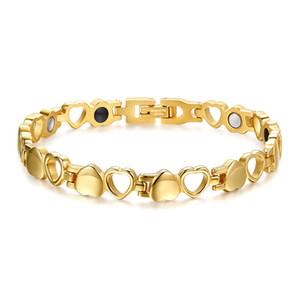Señoras de acero inoxidable 316L imán Salud de la Mujer de energía pulseras de la manera magnética de función Amor brazalete Pulseras Accesorios de joyería