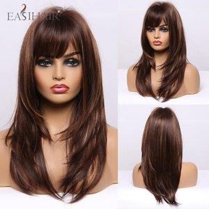 EASIHAIR medio Long Dark Brown diritta dorata Evidenziare parrucche sintetiche con Bang calore Resiatant Cosplay Femminile parrucche per le donne