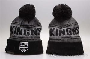 2019 neuen Männer Kings Striped Artknit Beanies Qualität Wintermütze Skullies ALL TEAM Eishockey Los Angeles LA Pom Stickerei Cuff Caps