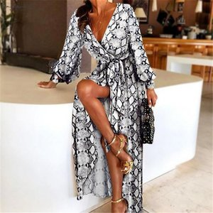 New Fashion Womens Sexy V Neck Leopard Printed Long Sleeve Long Maxi Dresses Ladies Summer Snake Skin Print Party Dress