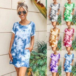 Para mujer 2020 de lujo de los vestidos de verano de manga corta de impresión del tinte del lazo del cuello de equipo del vestido de la ropa femenina