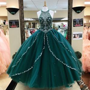 Gerçek Görüntüler Hunter Yeşil Boncuklu Rhinestones Balo Quinceanera Modelleri Payetli Jewel Boyun Kristaller Balo Abiye Tül Katmanlı Pageant Elbise