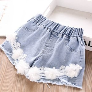 2020 new pearl flower girls shorts Summer denim hole kids shorts fashion girls jeans kids jeans kids designer clothes girls pants B1423