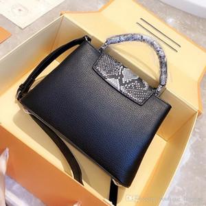 Kadınların üst çanta sapı Taurillon kadın çantaları üst markalar omuz crossbody çantası hakiki deri timsah Capucines çanta yüksek kalite handbags