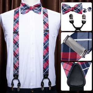 Lila für Männer Strapse Shirt Red Plaid Bow Tie Set Woven Y-Back Silk Strumpf No-Slip Silber Clips