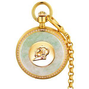 Marke Taschenuhr Serie Retro Herren Mechanische Taschenuhren Jade Smaragd Oberfläche Gold Herren Taschenuhren Drachen Uhr