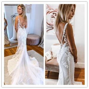 2020 Catedral lindo Country Style Mermaid Wedding Dresses V Neck Train Boho Vestidos de casamento 3D Flores vestido nupcial Robe De Mariee
