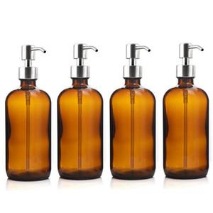 4pcs 500ml Bottiglia Pompa ambrato di vetro con acciaio inossidabile pompa lozione da bagno Oli Essenziali Shampoo sapone liquido