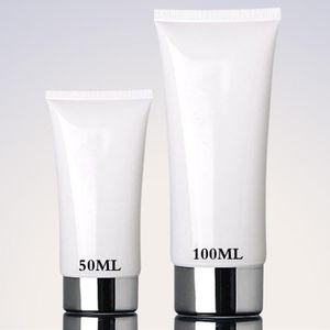 50ml 100ml White Soft Tube Silver Cap Mildy Wash Butter Bandcream Facial Cleanser BB CC Cream Packaging Bottles Tubes 50pcs lot