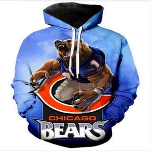 de alta qualidade homens do desenhista Chicago Bears hoodies camisolas 3D Imprimir Unisex Hoodie da camisola dos homens / mulheres roupa AA062