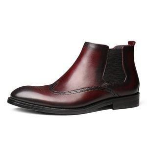 Botas Hombre Short Men Leather Boots Men Full-grain Leather Botines Hombre Bota Masculina Style Leather