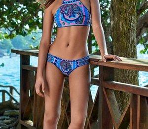 Yüksek Boyun Tank Crop Top Bikini Tığ Bikini Seti Mayo Bayan Mayo Kadın Beachwear 2018 tek parça bikini Mayo