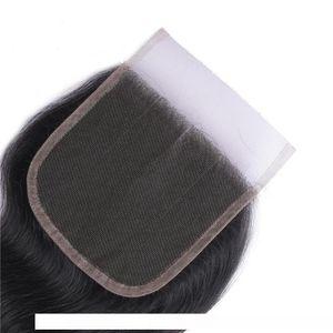 H 100 %Unprocessed Brazilian Virgin Human Lace Top Closure 4x4 Body Wave Remy Hair Closures