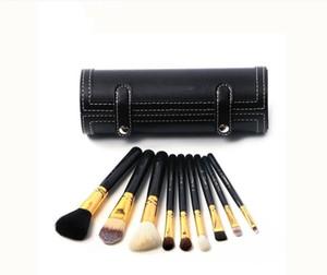 MAC 9-piece makeup brush Leather storage box 3 compartments Small mirror Eye shadow Eyebrow powder Foundation brush No powder good quality