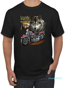 Legends Never Die Wolf Motorcycle Mens Americana American Pride Graphic T-Shirt