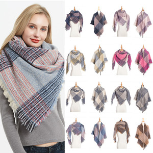 Rayas cuadrado de tela escocesa de la bufanda de Pashmina de las bufandas del invierno del otoño del abrigo del mantón de la bufanda Mujeres Accesorios de Moda voluntad y la nave de la gota de arena
