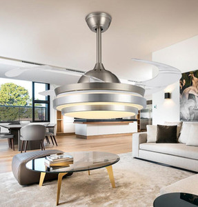 Ventilateurs de plafond avec lumières 42 pouces ventilateur de plafond chromé moderne à lames rétractables Crystal LED lustre ventilateur avec télécommande FAnelier