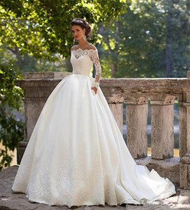 Long Sleeve Ball Gown Princess Wedding Dresses with Pockets Modern Custom Made High Quality Bridal Lace Romantic Appliques Robes De Mariee