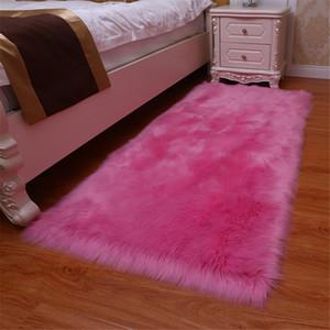 Lanas artificiales CALIENTE 1pc alfombra lanuda mullido Alfombras para sala de estar dormitorio LSF99