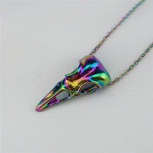 Gothic Rainbow Viking Rabe Vogel Skeleton Halskette Für Frauen Männer Hip Hop Tier Schädel Halsketten Anhänger Halskette