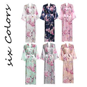 YUXINBRIDAL 2019 New Long Floral Robe Kimono Bridal Satin Silk Bathrobe Night Dress Wedding Robes Bridesmaids Bride Sleepwear