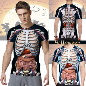 Erkek Moda Komik Cadılar Bayramı Korku İnsan Anatomisi Baskılı T-Shirt O-boyun Kısa kollu üstler 3d