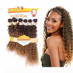 A 6pieces lot Hair Package Different Types of Curly Weave Hair Bundles Blond#4 27 Kinky Curly Weave Machine Made Double Weft 16-20&quot