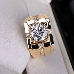 Classic High Carbon Diamond High Simulation Men's Diamond Ring Imitation Moss Stone Gold Plated Domineering Wedding Ring Wholesale