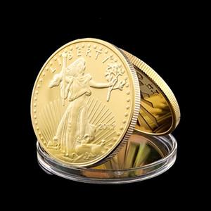 Liberty E.Pluribus Unum 50 Dolar 1OZ 24K Altın Kaplama Hatıra Kartal Pençesi Koleksiyon Coin Of Amerikan Heykeli