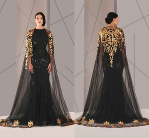 2019 Arabic Muslim Evening Dresses Tulle Cloak Gold and Black Sequins Crew Neck Plus Size Mermaid Formal Wear Long Pageant Prom Dress