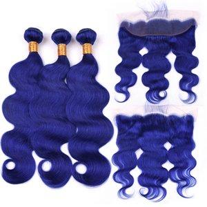 Silanda Hair Premium Blue Body Wave Remy Human Hair Pein Foot Bundles con el cierre frontal de encaje de 13x4 envío gratis