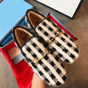 Новых мокасины Muller Женщины Horsebit текстурированной Шерсть Loafer Ткань Резина Midsole Flat Главная Обувь Lady Check Tweed Walking бездельника с коробкой