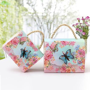 AVEBIEN Wedding Event Gift Bags Dessert Decoration Butterfly Flowers Paper Candy Box for Wedding Decoration Beautiful Gift 50pcs CX200704