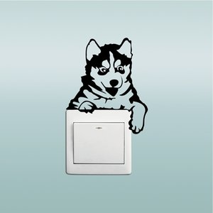 11*13cm Creative Husky Dog Light Switch Sticker Funny computertoon Animal Vinyl Wall Stickers for Bedroom Kids Room Home Decor