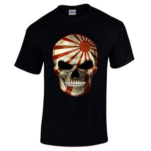 Mens T Shirt Le Japon Maléfique Rising Sun Flag Vacances Rave Bonbons Sucre Crâne Biker Tee