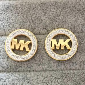 Precio al por mayor de calidad superior K Marcas Pendientes Ear Design Stud Pendiente Oro Plata G Letra Acero inoxidable para mujeres