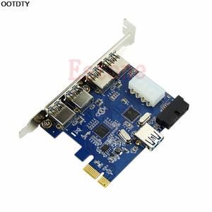 Add On Karten 5 Ports PCI-E PCI Express Card USB 3.0 + 19 Pin Stecker 4 Pin Adapter für Win