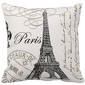 Mode Vintage HomeDecoration Tour Eiffel Lin Coton Coussin Jeter taie d'oreiller Couverture France Paris Tour Eiffel Coussin