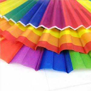 Rainbow Hand Held Folding Fan Dance Fan For Wedding Themed Parties Decoration stage performance prop fan ventagli matrimonio #13