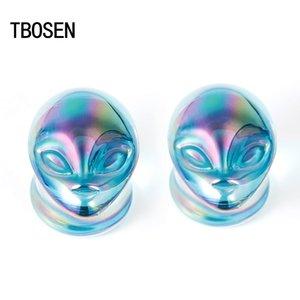 El nuevo estilo de la piedra azul de Alien del cuerpo del oído joyería Piercing enchufes strechers pendiente expansores Carne joyería de moda regalo para las mujeres de los hombres