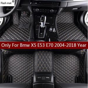 Mats do piso do carro de couro do esteira do flash para BMW X5 E53 E70 2004-2013 2014- 2016 2017 2018 Custom Auto Foot Pads Capa de Carpete de Automóveis