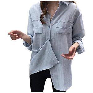 Chamsgend mujeres flojas ocasionales botón sólido de la blusa de manga larga superior Ladies da vuelta-abajo Oficina de Trabajo de la ropa del tamaño extra grande